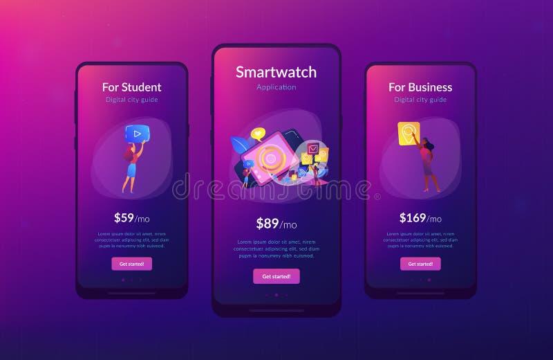 Smartwatch app app interface template. vector illustration