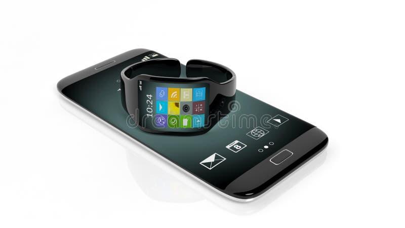 Smartwatch avec des apps sur l'écran et le smartphone illustration libre de droits
