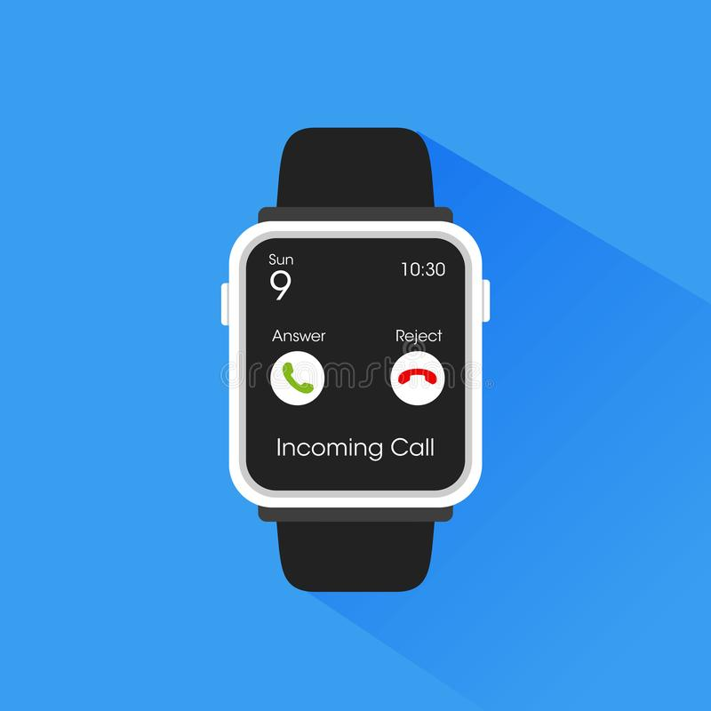 Smartwatch che ottiene l'illustrazione di chiamata in arrivo immagini stock