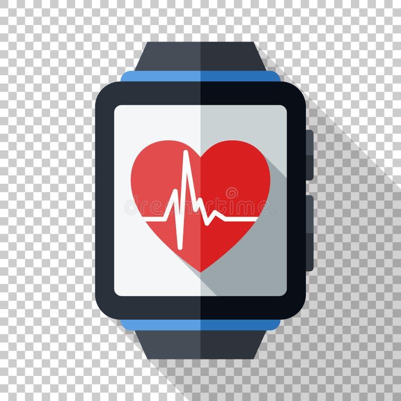 Smartwatch com ícone da aplicação da saúde ou da aptidão Ícone esperto do relógio no estilo liso no fundo transparente ilustração royalty free