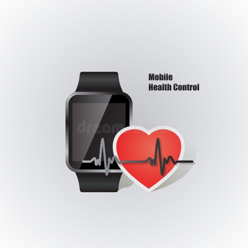 Smartwatch com símbolo do batimento cardíaco ilustração royalty free
