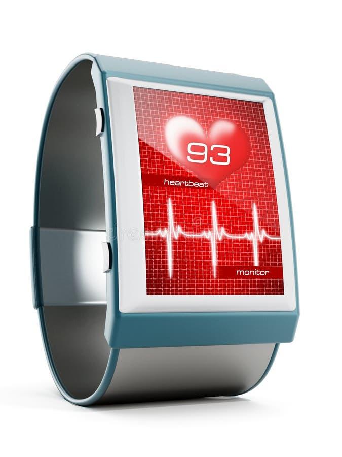 Smartwatch con el monitor del latido del corazón foto de archivo