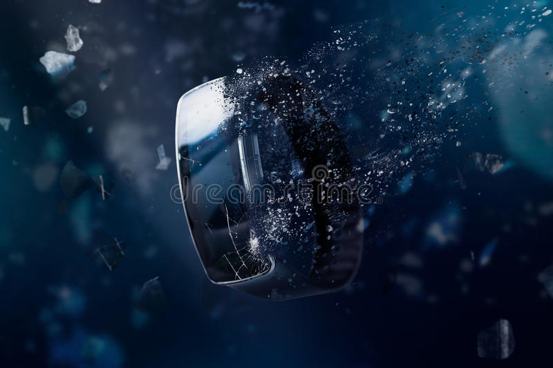 The smartwatch is disintegrating in space. stock photos