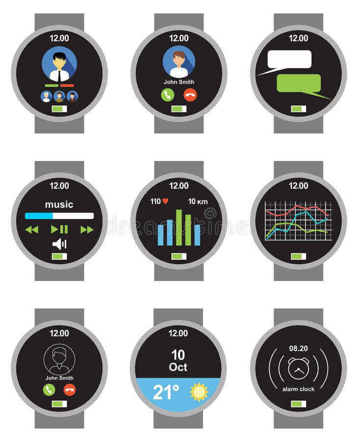 Smartwatch do círculo Aplicações na tela ilustração do vetor