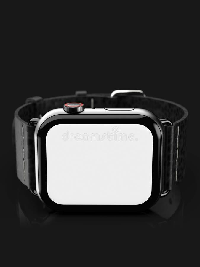 Smartwatch do estilo do relógio 4 de Apple, tela preta, branca ilustração do vetor
