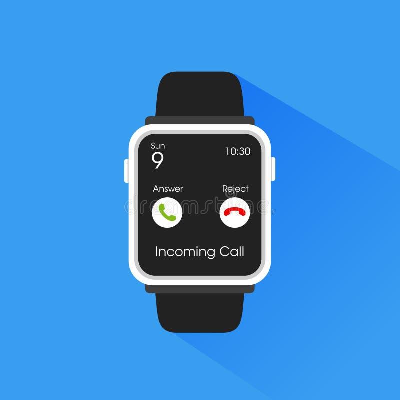 Smartwatch dostaje przybywającego wezwania ilustrację obrazy stock