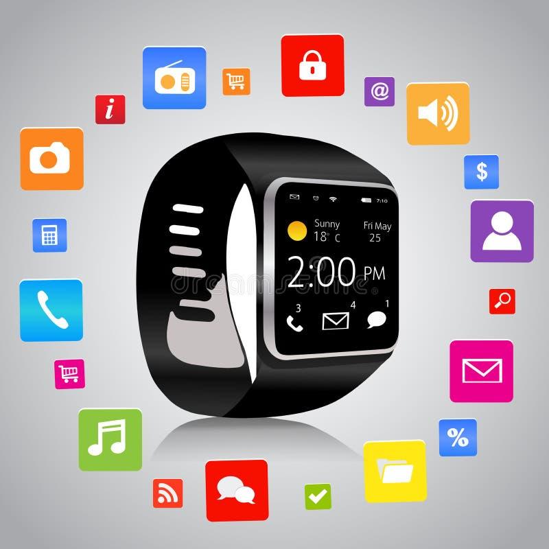 Smartwatch e ícones da aplicação ilustração royalty free