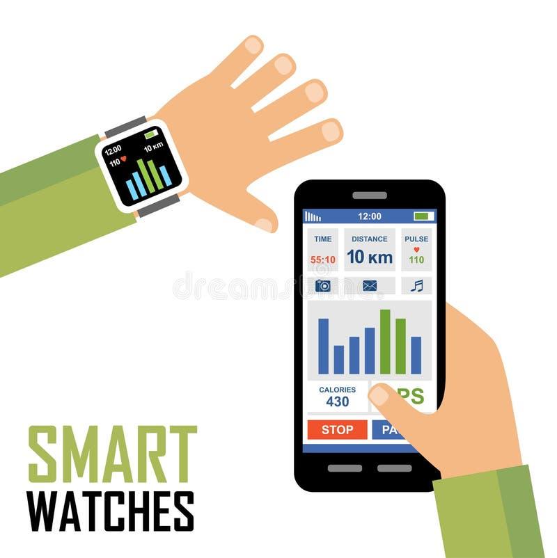 Smartwatch em uma aplicação do perseguidor da aptidão do pulso ilustração royalty free