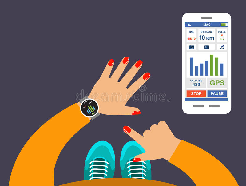 Smartwatch em uma aplicação do perseguidor da aptidão do pulso ilustração stock