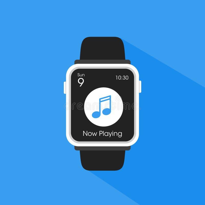 Smartwatch esegue un'applicazione del lettore fotografia stock libera da diritti
