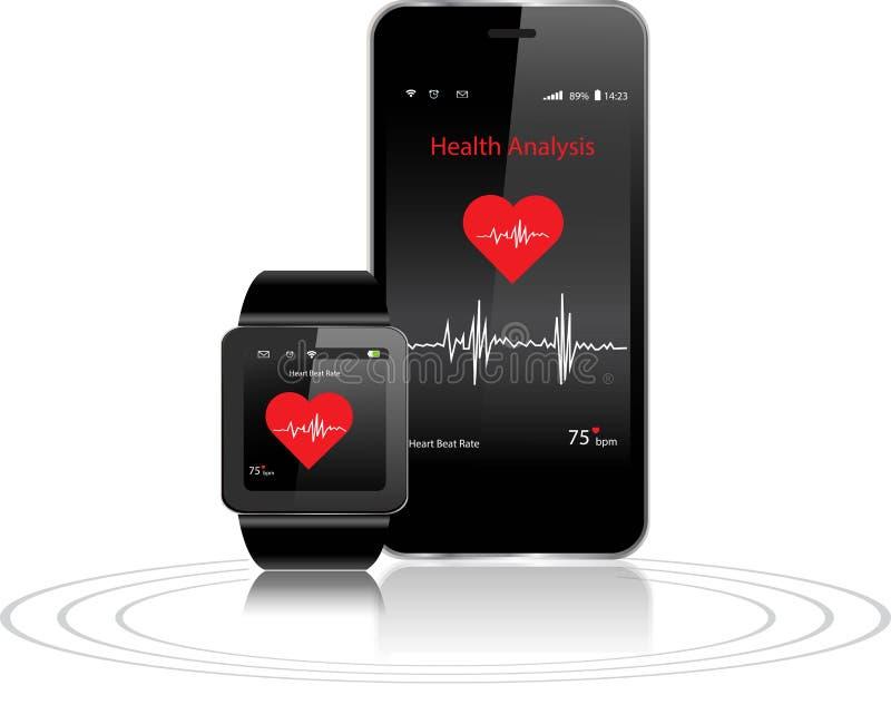 Smartwatch et Smartphone avec des apps de santé illustration libre de droits