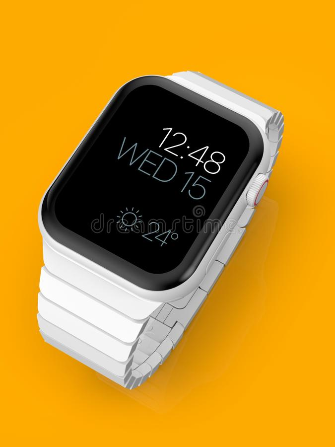 Smartwatch för rykte för Apple klocka 4 vit keramisk uppdiktad, modell arkivbild