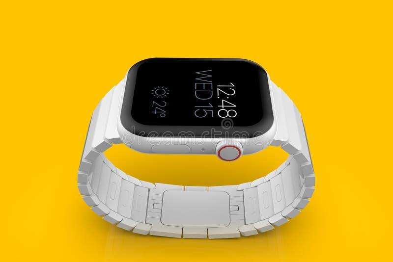 Smartwatch för rykte för Apple klocka 4 vit keramisk uppdiktad, modell arkivbilder