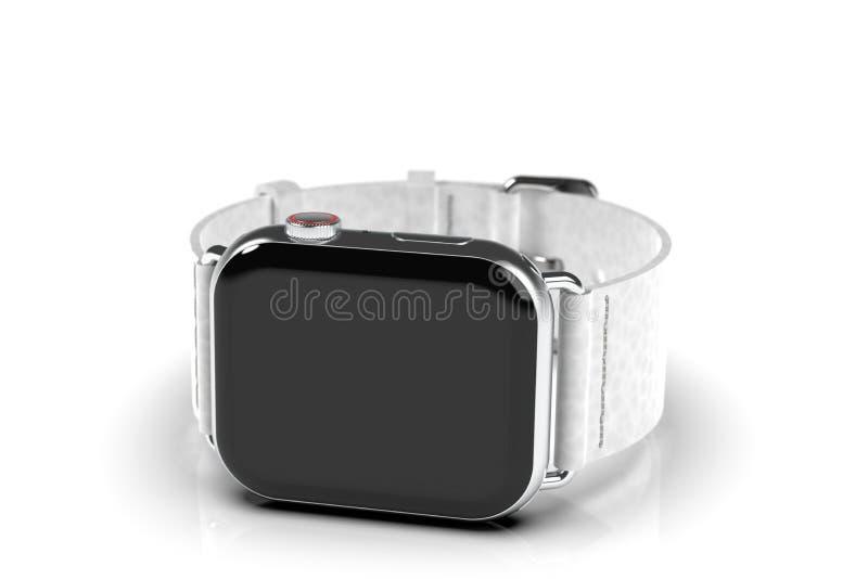 Smartwatch för stil för Apple klocka 4, silver, svart skärm stock illustrationer