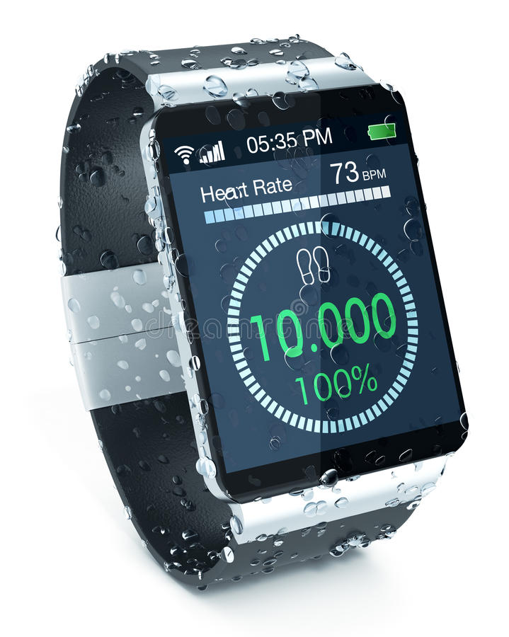 Smartwatch and fitness. Smartwatch with fitness app, covered of water drops, on white background (3d render royalty free illustration