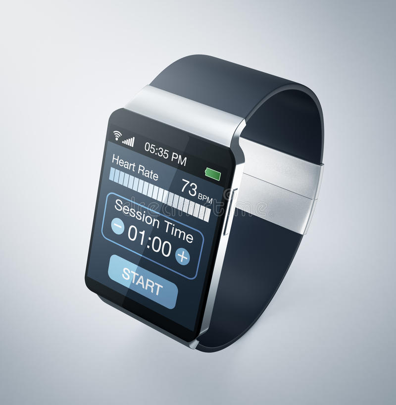 Smartwatch and fitness. Top view of a smartwatch with fitness app (3d render vector illustration