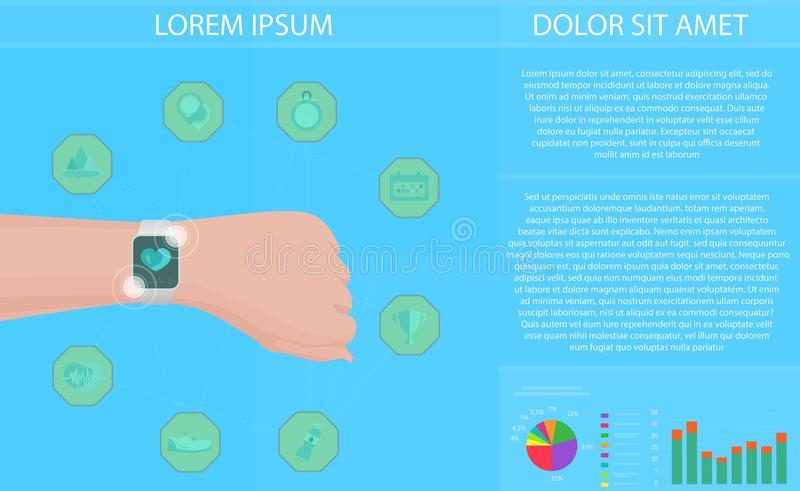 Smartwatch fitness tracker concept with icons of healthy, fitness, lifestyle and physical activity. Vector illustration. royalty free illustration