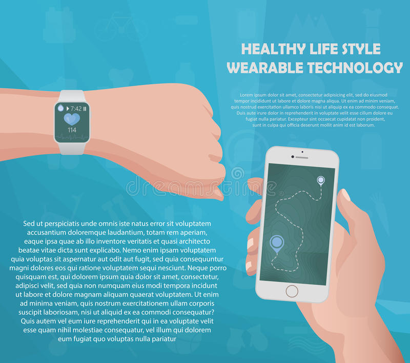 Smartwatch fitness tracker concept with icons of healthy, fitness and physical activity with your text in slots. royalty free illustration