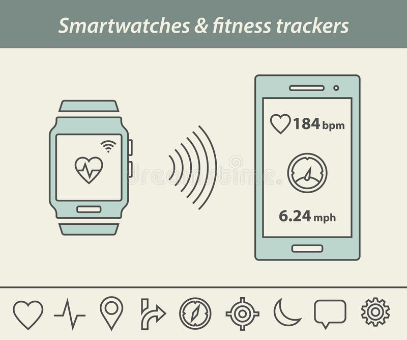 Smartwatch and fitness tracker stock illustration