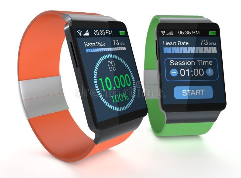 Smartwatch i sprawność fizyczna ilustracja wektor