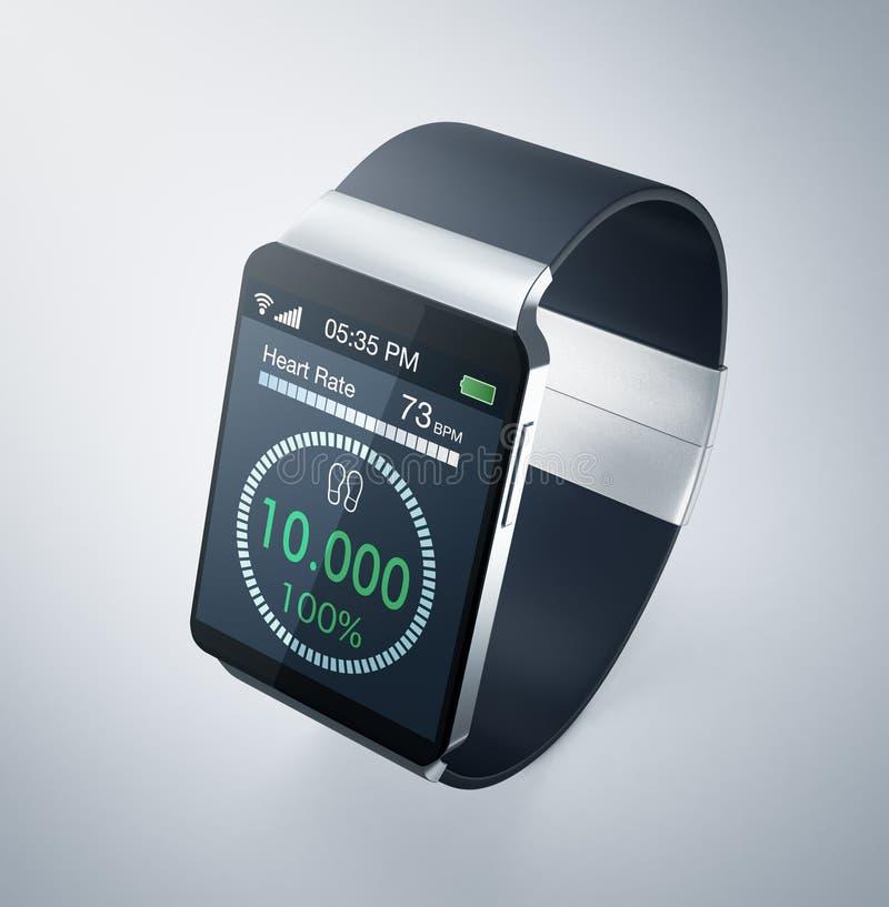 Smartwatch i sprawność fizyczna ilustracji