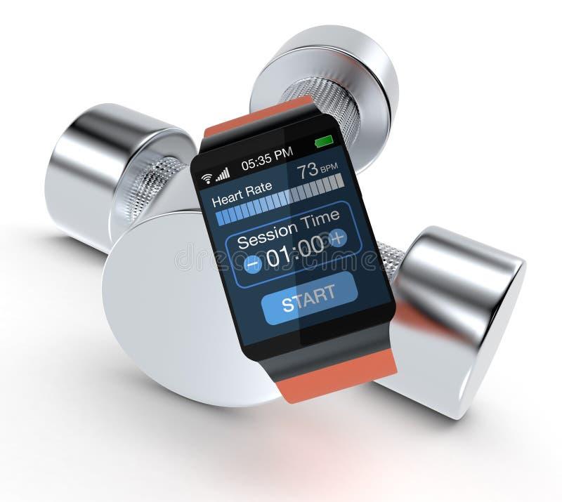Smartwatch i sprawność fizyczna royalty ilustracja