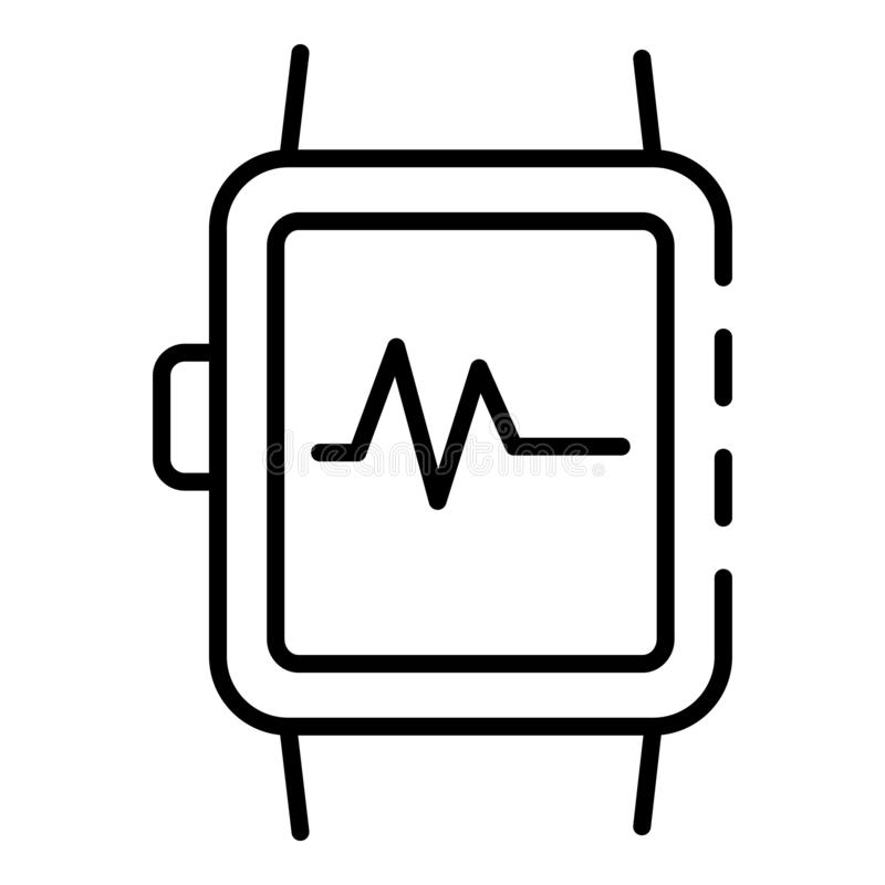 Smartwatch icon, outline style. Smartwatch icon. Outline smartwatch vector icon for web design isolated on white background royalty free illustration