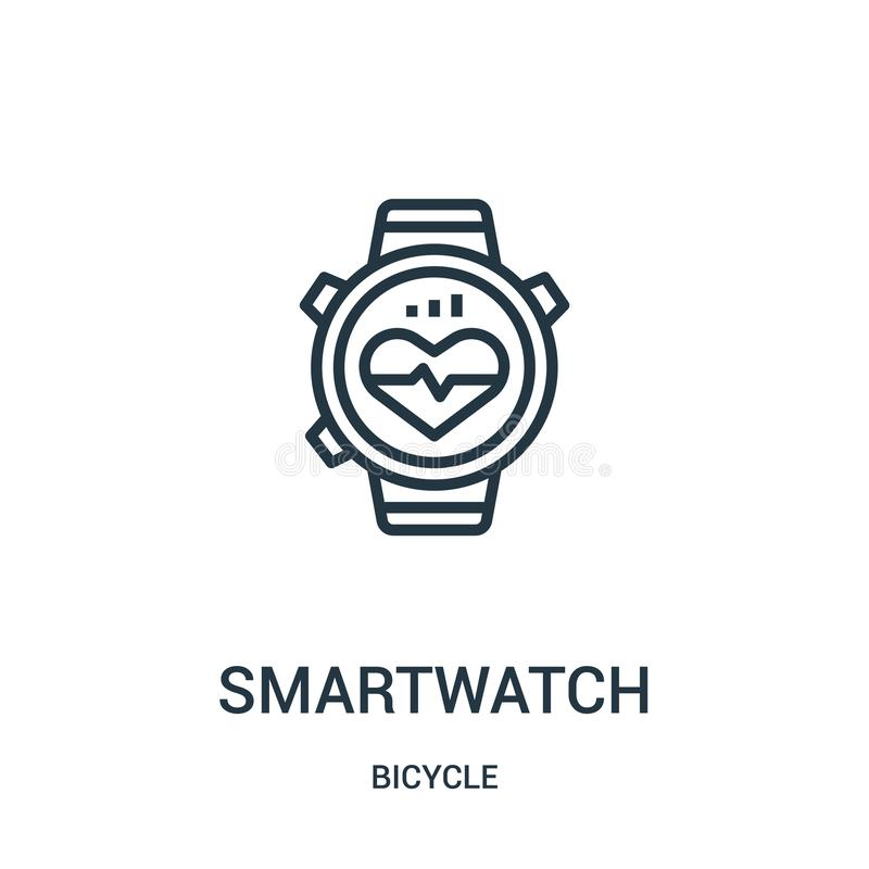 smartwatch icon vector from bicycle collection. Thin line smartwatch outline icon vector illustration. Linear symbol for use on vector illustration
