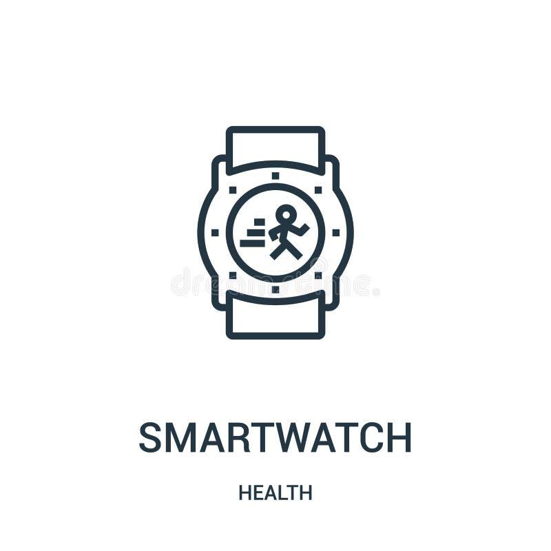 smartwatch ikony wektor od zdrowie kolekcji Cienka kreskowa smartwatch konturu ikony wektoru ilustracja Liniowy symbol dla używa  royalty ilustracja