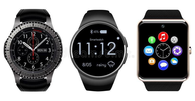 Smartwatch isolerade, den realistiska vektorillustrationen vektor illustrationer