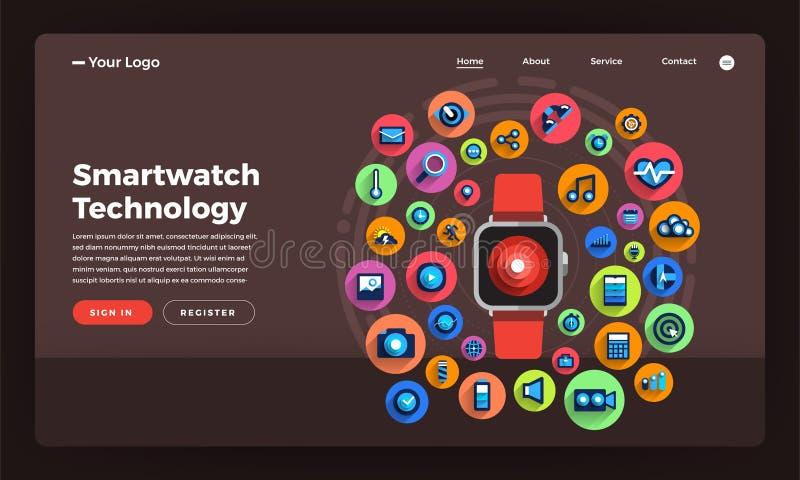 Smartwatch liso t wearable do conceito de projeto do Web site do projeto do modelo ilustração royalty free