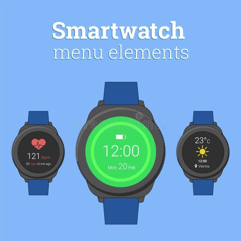 Smartwatch-Menüelemente Modernes smartwatch im runden Entwurf mit Ikonen des Wettervorhersage- und Herzfrequenzmonitors lizenzfreie abbildung