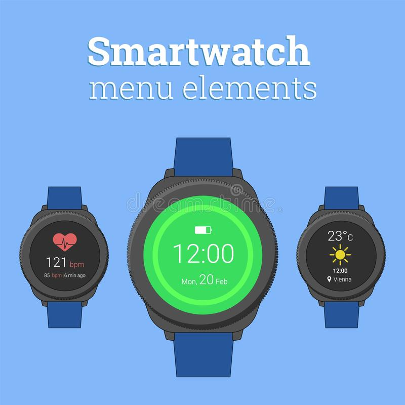 Smartwatch menu elements. Modern smartwatch in round design with icons of weather forecast and heart rate monitor. royalty free illustration