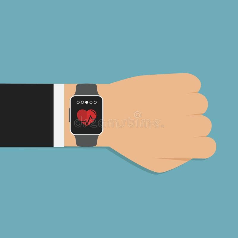 Smartwatch no pulso que indica pulsação do coração Ícone do App da aptidão Homem com o smartwatch moderno isolado ilustração do vetor