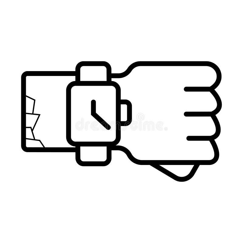 Smartwatch op hand royalty-vrije illustratie
