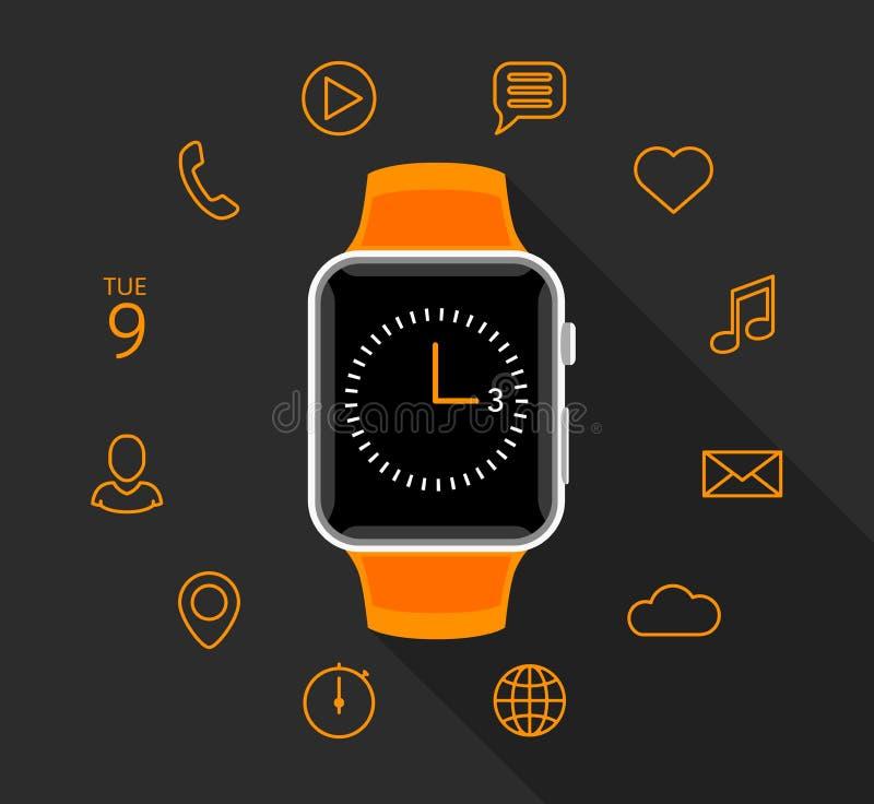 Smartwatch orange plat moderne avec des icônes d'APP sur le fond gris illustration libre de droits