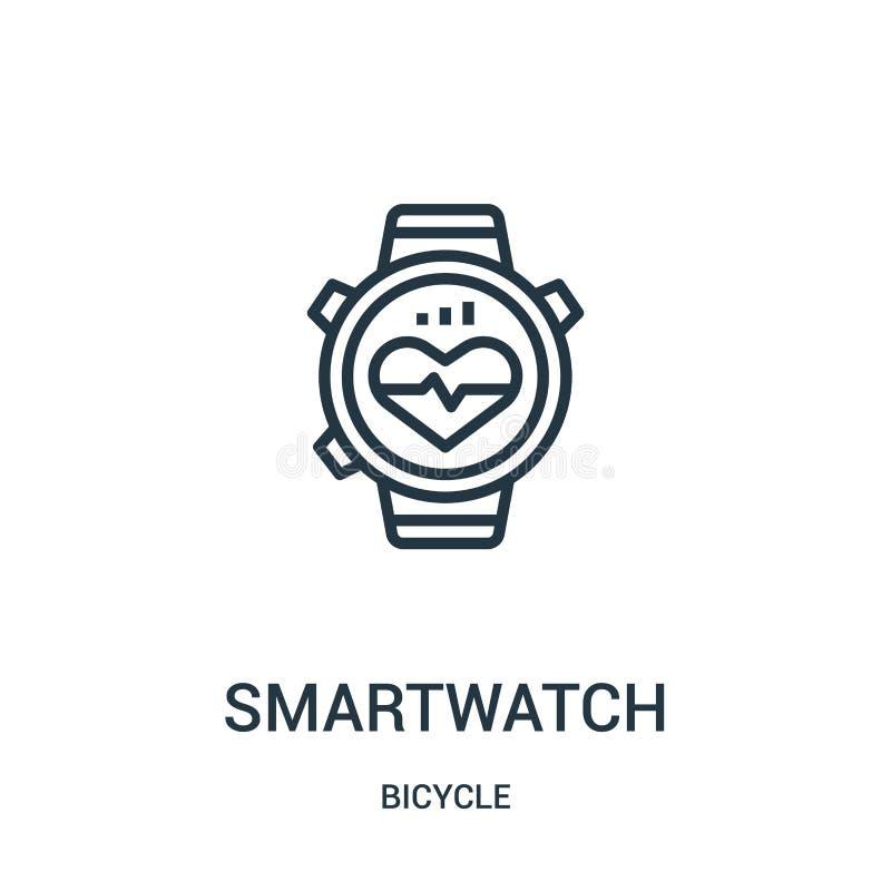 smartwatch pictogramvector van fietsinzameling De dunne lijn smartwatch schetst pictogram vectorillustratie Lineair symbool voor  vector illustratie