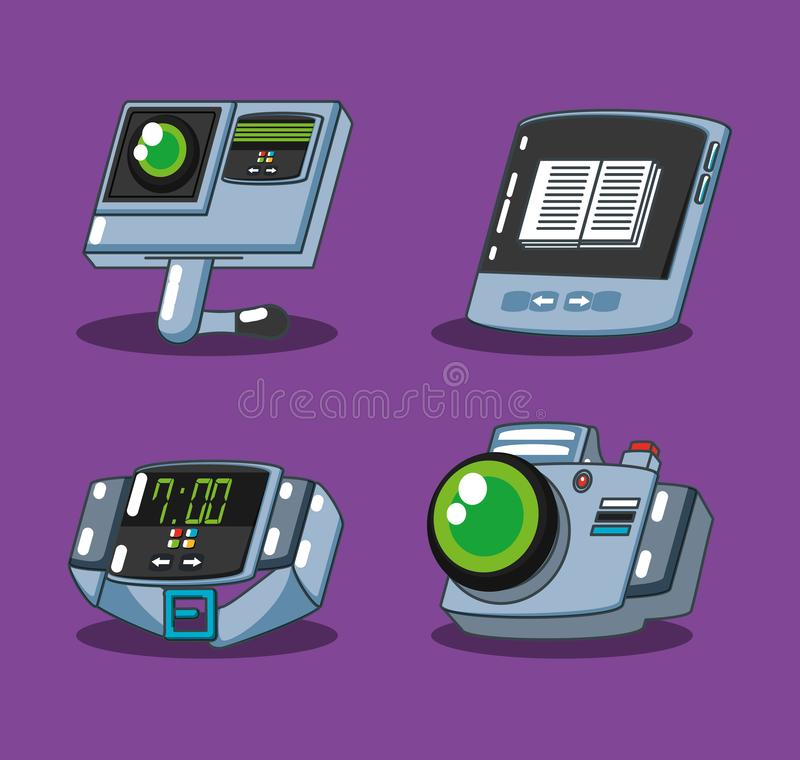 Smartwatch with set devices. Vector illustration design vector illustration