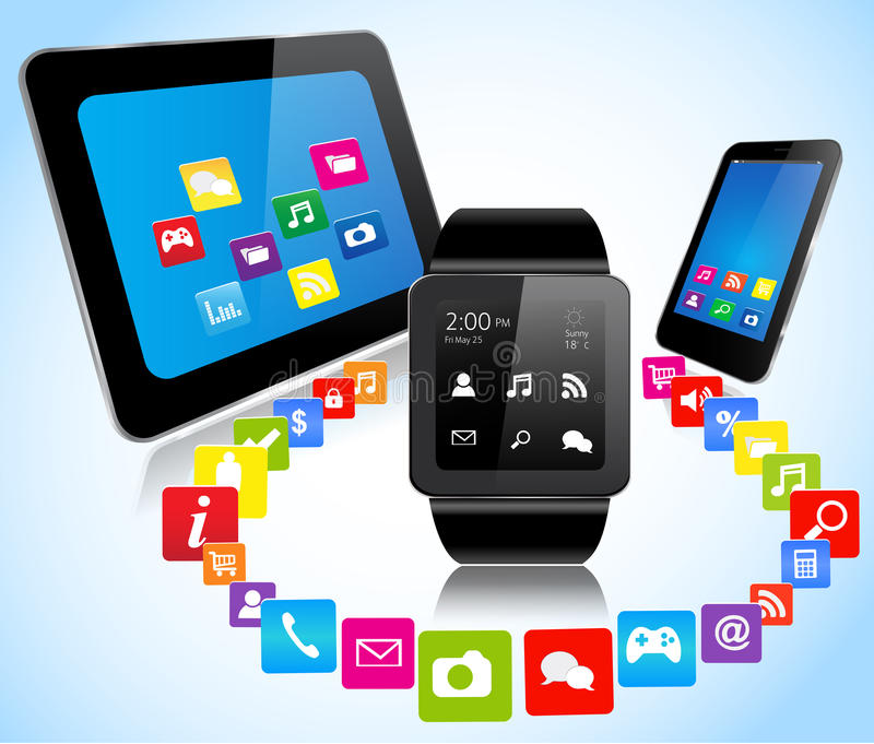 Smartwatch smartphone tablet and apps. Smartwatch smart phone tablet and apps connections vector illustration