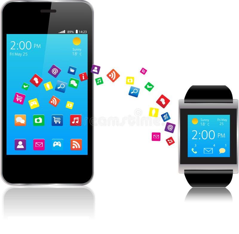 Smartwatch und intelligentes Telefon vektor abbildung