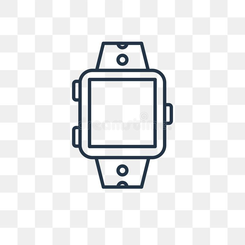 Smartwatch vector icon isolated on transparent background, linea stock illustration