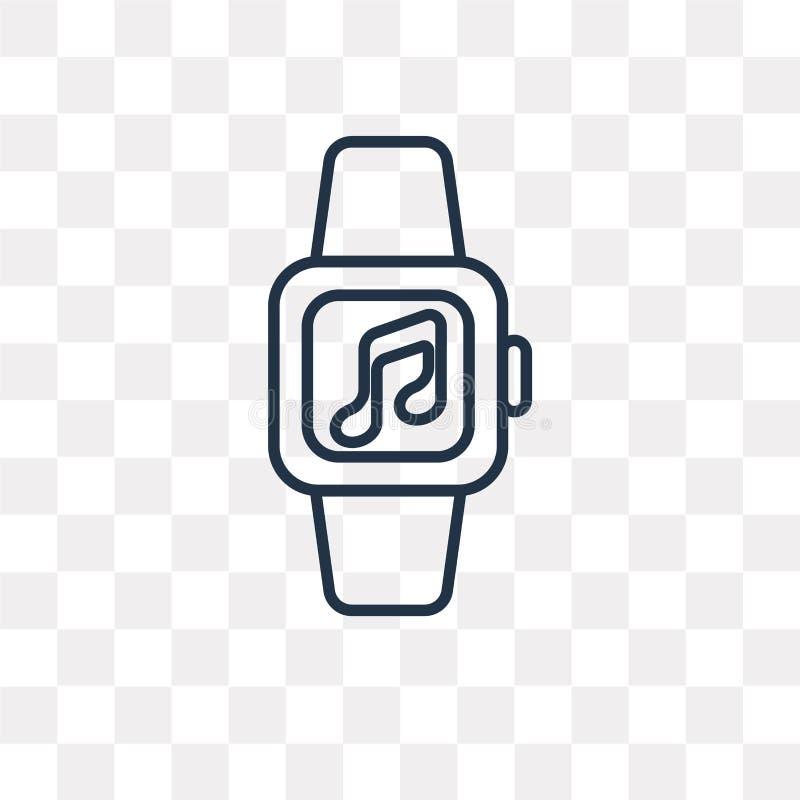 Smartwatch vectordiepictogram op transparante achtergrond, linea wordt geïsoleerd stock illustratie