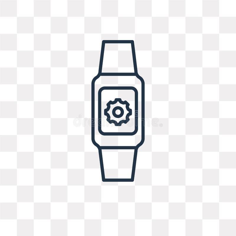 Smartwatch vectordiepictogram op transparante achtergrond, linea wordt geïsoleerd royalty-vrije illustratie