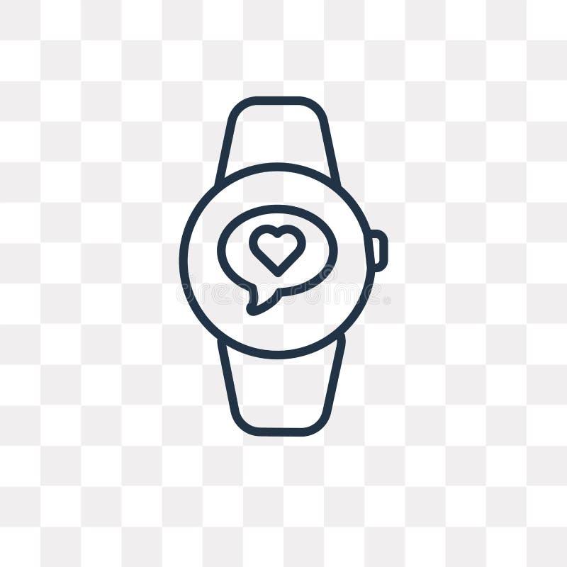 Smartwatch vectordiepictogram op transparante achtergrond, linea wordt geïsoleerd vector illustratie