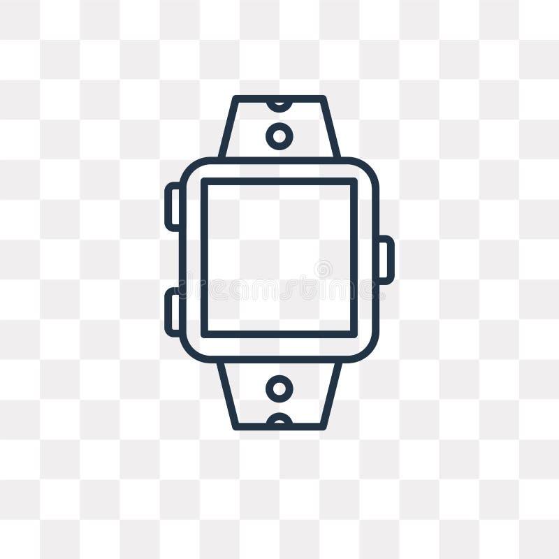 Smartwatch vektorsymbol som isoleras på genomskinlig bakgrund, linea stock illustrationer