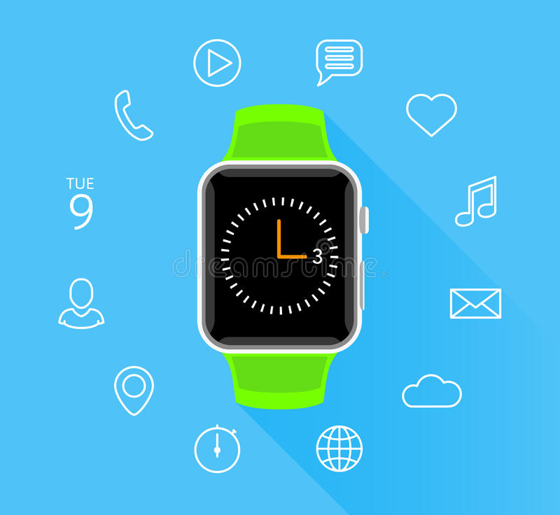 Smartwatch vert plat moderne avec des icônes d'APP sur le fond bleu illustration stock