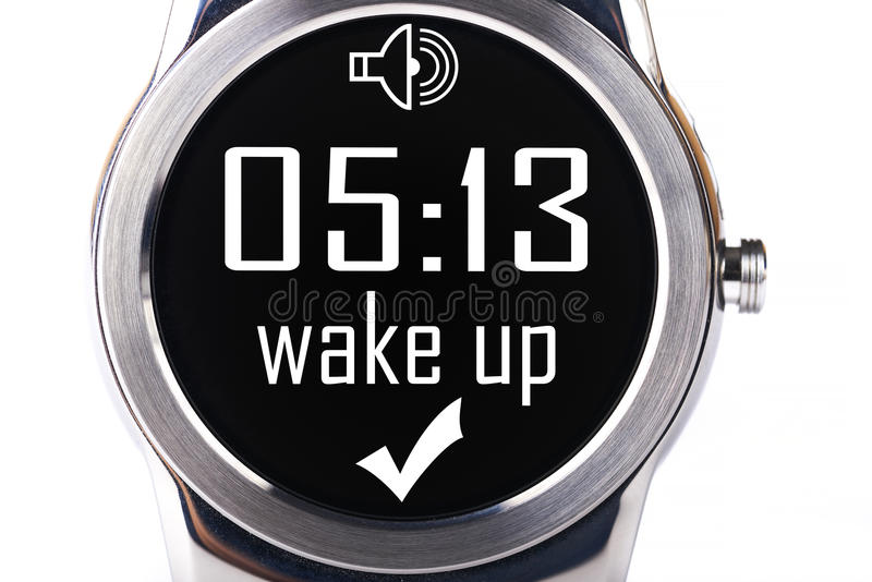 Smartwatch wake up. Smartwatch with wake up notification isolated on white background royalty free stock image
