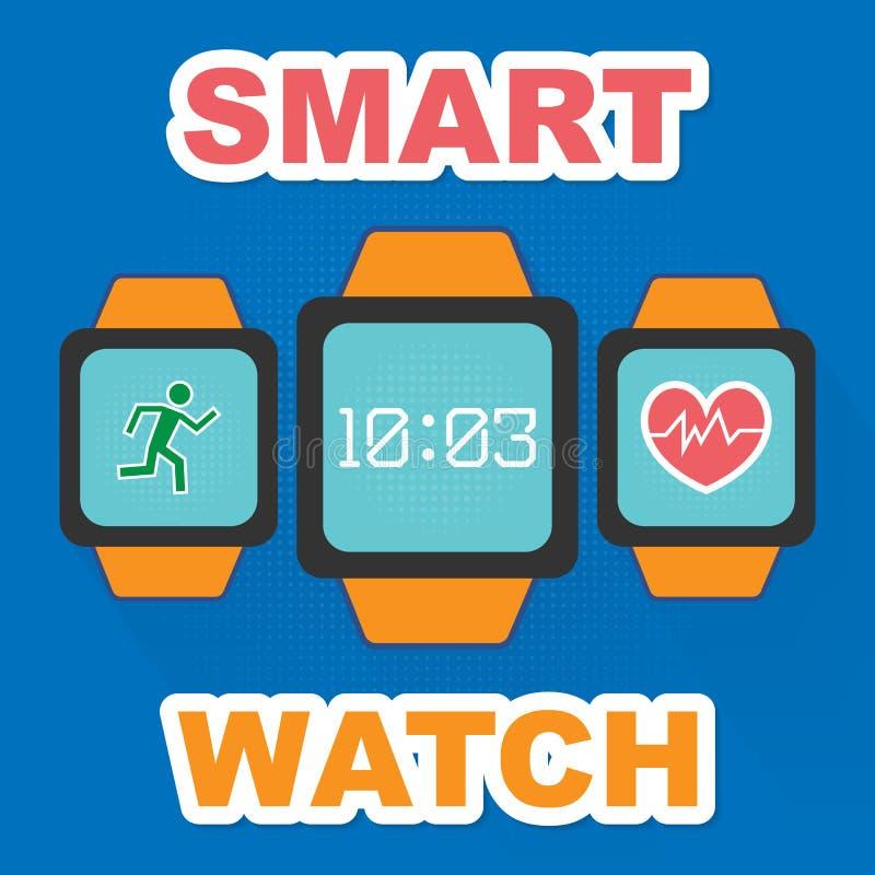 Smartwatch wearable com ícone liso dos apps ilustração royalty free