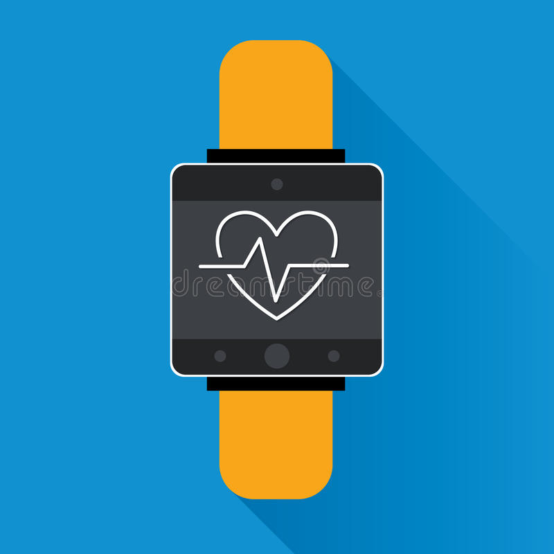 Smartwatch wearable technology symbol with icon for fitness tracker heart beat monitor application. vector royalty free illustration