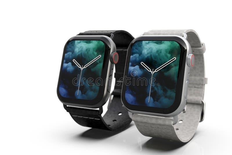 2 smartwatches -苹果计算机手表4,银色和灰色,在白色 库存图片